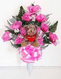 Vases For Floral Arrangements Cemetery Vases With Beautiful Artificial Flower Arrangements
