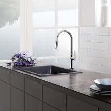 Black Faucets Decorating White Merola Tile Wall With Houzer Sinks And Graff