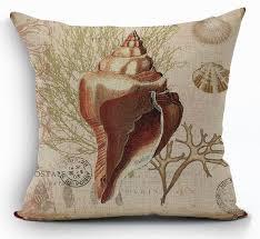 vintage fundas cojines sofa seat cushion cover sea shell throw