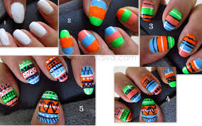 neon tribal aztec nail art step by step pics tutorial u2013 dendiva