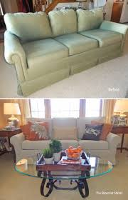custom made linen slipcover for faded and outdated sleeper sofa