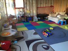 Inexpensive Unfinished Basement Ideas by Makeshift Playroom In An Unfinished Basement Kids Room
