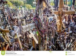 cross bearing crosses hill of crosses lithuania stock photo