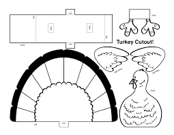Printable Turkey Cutout | thanksgiving 3d turkey cutout downloadable art project for kids