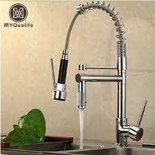 tap kitchen faucet chrome finish dual spout kitchen sink faucet deck mount