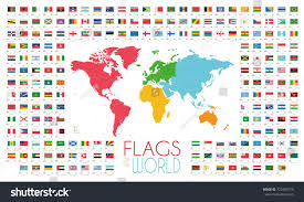 World Map With Flags 204 World Flags World Map By Stock Vector 722400775 Shutterstock