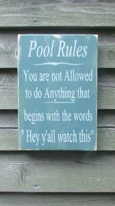 primitive rustic home decor hand painted wood sign pool rules sign pool sign primitive
