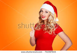 new year attire smiling woman new year attire showing stock photo 753397945