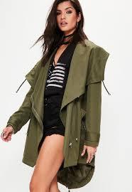 khaki waterfall parka jacket missguided