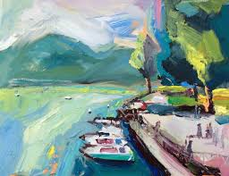 for sale by artist richard claremont autumn in lake annecy seascape