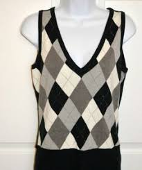 mens white argyle sweater vest size l by hickey golf retail