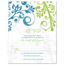 Wedding Invitation Reply Cards Wedding Rsvp Card Cerulean Blue Lime Green Modern Floral