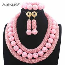 crystal bead necklace jewelry images 2016 latest pink crystal beads african jewellery set women jpg