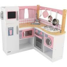 cuisine enfant en bois pas cher kidkraft grande cuisine d angle pour enfant en bois 91x91x92cm