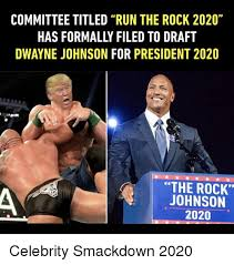 Dwayne Johnson Meme - committee titled run the rock 2020 has formally filed to draft