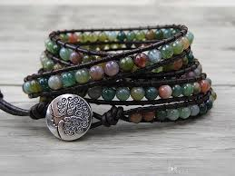 wrap bracelet with beads images 2018 leather wrap and india agate beads bracelet women boho bead jpg