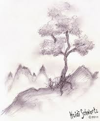mountain tree sketch love the details of drawing especially the