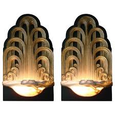 Sconces Wall Lighting Pair Of Art Deco Fountain Sconces Wall Lights Theater Lamps Circa