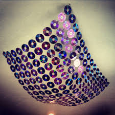 Decorated Ceiling Recycled Old Cds Or Dvds Drill Holes In Discs Then Attach With