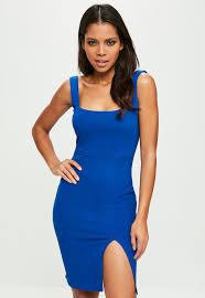 blue bodycon dress blue square neck bodycon dress missguided