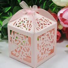 wholesale wedding favors laser cut favor candy gift boxes with ribbon for wedding party