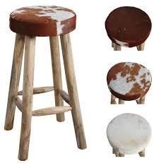 tabouret de cuisine en bois tabouret de bar en peau de vache et bois