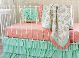 Coral And Mint Bedding Leafy Dreams Bumperless Baby Bedding Blanket Version Lottie Da