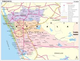 India Map With Cities by Thrissur District Map Kerala District Map With Important Places