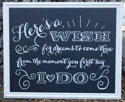 wedding chalkboard sayings here s a wish wedding chalkboard sign bridal shower
