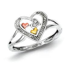 gold promise rings sterling silver 14k yellow gold diamond heart ring