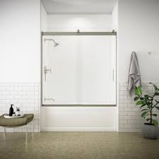 glass bath doors frameless kohler levity 60 in x 62 in semi frameless sliding tub door in