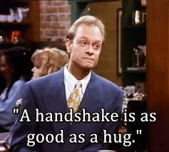Frasier Meme - frasier handshake hug no homo animated gif popkey
