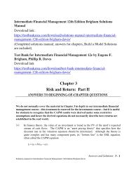 intermediate financial management 12th edition brigham solutions