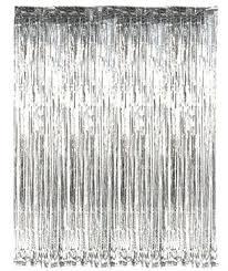 Silver Foil Curtains Propz Silver Metallic Fringe Foil Curtain Silver In