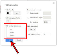 Google Docs Table How To Change Vertical Alignment In Table Cells In Google Docs