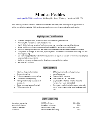 Machinist Resume Examples by Machinist Resume 2016