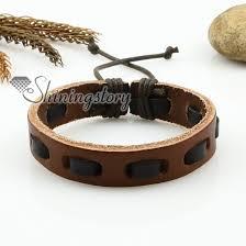 leather bracelet designs images Genuine leather wristbands adjustable drawstring bracelets unisex jpg
