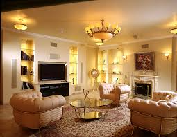 living room ceiling living room lighting in warm theme with semi