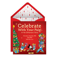 Online Invitation Card Mickey U0026 Friends Holiday Party Online Invitation Disney Family