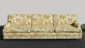 vintage mid century modern gold floral sofa couch hollywood