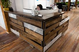 reclaimed wood l shaped desk barn wood desk ideas hand crafted reclaimed podium by urban mining