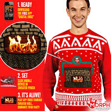 knitted crackling fireplace christmas jumper morph costumes uk