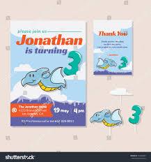 cute dinosaur theme 3rd birthday party stock vector 715648285