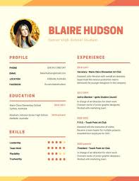 High Student Resume Template By by Orange Warm Modern Photo High Resume Templates By Canva