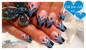blue french tip nail art abstract nail art design tutorial
