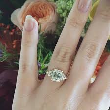custom art deco inspired anna sheffield emerald cut engagement