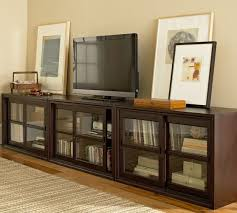 winslow glass door long media stand pottery barn for media cabinet