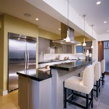 Kitchen Island Contemporary - half wall breakfast bar kitchen contemporary with kitchen island