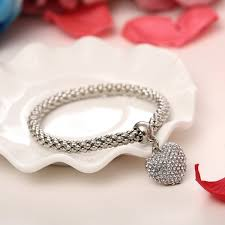 bracelet elastic heart images Stylish heart charm bangle elastic bracelets 3 pcs set jpeg