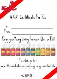 printable gift card printable gift certificate for younf living essential